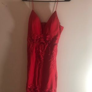Strappy, sexy, red, lace dress.